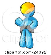 Clipart Illustration Of A Friendly Light Blue Construction Worker Or Handyman Wearing A Hardhat And Tool Belt And Waving by Leo Blanchette