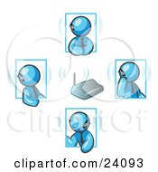 Clipart Illustration Of A Group Of Four Light Blue Men Holding A Phone Meeting And Wearing Wireless Bluetooth Headsets
