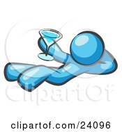 Clipart Illustration Of A Light Blue Man Kicking Back And Relaxing With A Martini Beverage