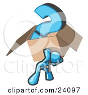 Clipart Illustration Of A Light Blue Man Carrying A Heavy Question Mark In A Box by Leo Blanchette