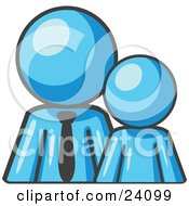 Clipart Illustration Of A Light Blue Child Or Employee Standing Beside A Bigger Blue Businessman Symbolizing Management Parenting Or Mentorship by Leo Blanchette