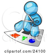 Clipart Illustration Of A Light Blue Man Holding A Pair Of Scissors And Sitting On A Large Poster Board With Colorful Shapes