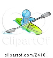 Clipart Illustration Of A Light Blue Man Paddling Down A River In A Green Kayak by Leo Blanchette