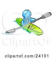 Light Blue Man Paddling Down A River In A Green Kayak
