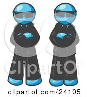 Clipart Illustration Of Two Light Blue Men Standing With Their Arms Crossed Wearing Sunglasses And Black Suits by Leo Blanchette