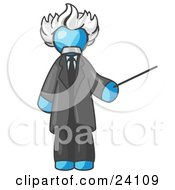 Clipart Illustration Of A Light Blue Man Depicted As Albert Einstein Holding A Pointer Stick