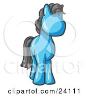 Clipart Illustration Of A Cute Light Blue Pony Horse Looking Out At The Viewer by Leo Blanchette