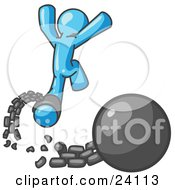 Clipart Illustration Of A Light Blue Man Jumping For Joy While Breaking Away From A Ball And Chain Symbolizing Freedom From Debt Or Divorce by Leo Blanchette