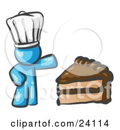Clipart Illustration Of A Light Blue Chef Man Wearing A White Hat And Presenting A Tasty Slice Of Chocolate Frosted Cake by Leo Blanchette
