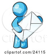 Clipart Illustration Of A Light Blue Person Standing And Holding A Large Envelope Symbolizing Communications And Email