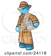 Clipart Illustration Of A Secretive Light Blue Man In A Trench Coat And Hat Carrying A Box With A Question Mark On It