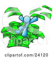 Clipart Illustration Of A Light Blue Business Man Jumping In A Pile Of Money And Throwing Cash Into The Air by Leo Blanchette