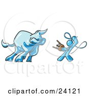 Clipart Illustration Of A Light Blue Man Holding A Stool And Whip While Taming A Bull Bull Market by Leo Blanchette