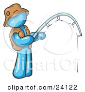 Clipart Illustration Of A Light Blue Man Wearing A Hat And Vest And Holding A Fishing Pole