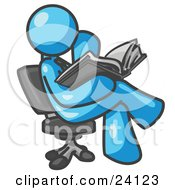 Clipart Illustration Of A Light Blue Man Sitting Cross Legged In A Chair And Reading A Book
