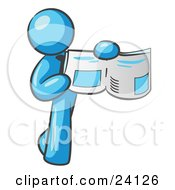 Clipart Illustration Of A Light Blue Man Holding Up A Newspaper And Pointing To An Article