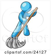 Clipart Illustration Of A Light Blue Man Wearing A Tie Using A Mop While Mopping A Hard Floor To Clean Up A Mess Or Spill