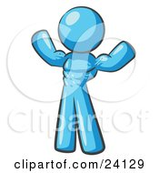 Clipart Illustration Of A Light Blue Bodybuilder Man Flexing His Muscles And Showing The Definition In His Abs Chest And Arms