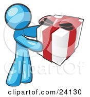 Clipart Illustration Of A Thoughtful Light Blue Man Holding A Christmas Birthday Valentines Day Or Anniversary Gift Wrapped In White Paper With Red Ribbon And A Bow