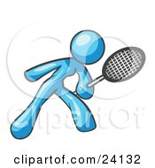 Clipart Illustration Of A Light Blue Woman Preparing To Hit A Tennis Ball With A Racquet