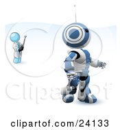 Clipart Illustration Of A Light Blue Man Inventor Operating An Blue Robot With A Remote Control
