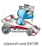 Clipart Illustration Of A Light Blue Man Driving A Fast Race Car Past Flags While Racing