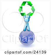 Clipart Illustration Of A Light Blue Man Standing On Top Of The Blue Planet Earth And Holding Up Three Green Arrows Forming A Triangle And Moving In A Clockwise Motion Symbolizing Renewable Energy And Recycling
