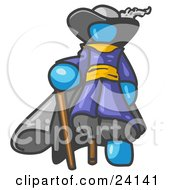 Clipart Illustration Of A Light Blue Male Pirate With A Cane And A Peg Leg