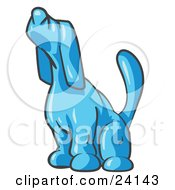 Clipart Illustration Of A Light Blue Tick Hound Dog Howling Or Sniffing The Air