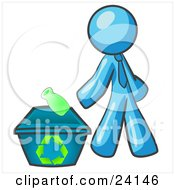 Clipart Illustration Of A Light Blue Man Tossing A Plastic Container Into A Recycle Bin Symbolizing Someone Doing Their Part To Help The Environment And To Be Earth Friendly
