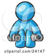 Clipart Illustration Of A Light Blue Man Lifting Dumbells While Strength Training