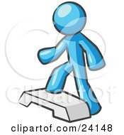 Clipart Illustration Of A Light Blue Man Doing Step Ups On An Aerobics Platform While Exercising by Leo Blanchette