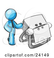 Clipart Illustration Of A Light Blue Businessman Standing Beside A Rotary Card File With Blank Index Cards