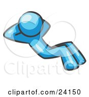 Clipart Illustration Of A Light Blue Man Doing Sit Ups While Strength Training