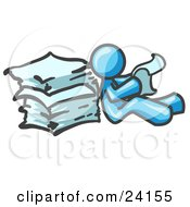 Clipart Illustration Of A Light Blue Man Leaning Against A Stack Of Papers
