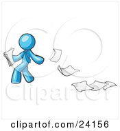 Clipart Illustration Of A Light Blue Man Dropping White Sheets Of Paper On A Ground And Leaving A Paper Trail Symbolizing Waste by Leo Blanchette