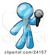 Clipart Illustration Of A Light Blue Man A Comedian Or Vocalist Wearing A Tie Standing On Stage And Holding A Microphone While Singing Karaoke Or Telling Jokes by Leo Blanchette