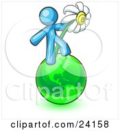 Clipart Illustration Of A Light Blue Man Standing On The Green Planet Earth And Holding A White Daisy Symbolizing Organics And Going Green For A Healthy Environment
