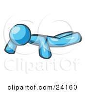 Clipart Illustration Of A Light Blue Man Doing Pushups While Strength Training