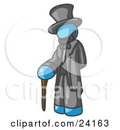 Clipart Illustration Of A Light Blue Man Depicting Abraham Lincoln With A Cane by Leo Blanchette