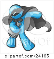 Clipart Illustration Of A Light Blue Man In A Mask And Cape Stealing Belongings In A Bag