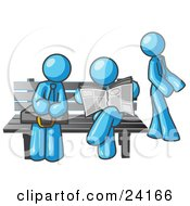 Clipart Illustration Of Light Blue Men At A Bench At A Bus Stop