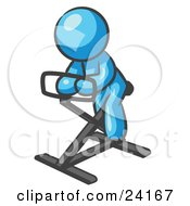 Clipart Illustration Of A Light Blue Man Exercising On A Stationary Bicycle