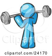 Clipart Illustration Of A Light Blue Man Lifting A Barbell While Strength Training