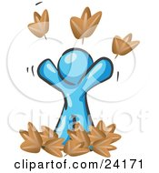 Clipart Illustration Of A Carefree Light Blue Man Tossing Up Autumn Leaves In The Air Symbolizing Happiness And Freedom