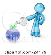 Light Blue Man Using A Watering Can To Water New Grass Growing On Planet Earth Symbolizing Someone Caring For The Environment