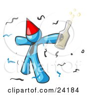 Clipart Illustration Of A Happy Light Blue Man Partying With A Party Hat Confetti And A Bottle Of Liquor
