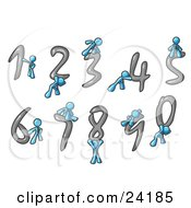 Clipart Illustration Of Light Blue Men With Numbers 0 Through 9