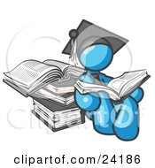 Clipart Illustration Of A Light Blue Male Student In A Graduation Cap Reading A Book And Leaning Against A Stack Of Books