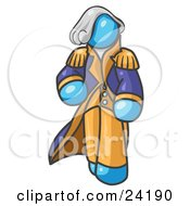 Clipart Illustration Of A Light Blue George Washington Character by Leo Blanchette